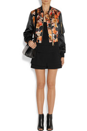 Cropped bomber jacket in floral-print satin