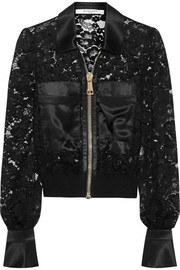Givenchy Bomber jacket with silk-satin panels in black lace