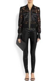 Bomber jacket with silk-satin panels in black lace