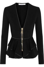 Ruffled peplum jacket in black stretch-scuba jersey