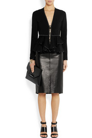 Givenchy Ruffled peplum jacket in black stretch-scuba jersey