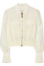 Bomber jacket in silk crepe de chine