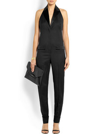 Halterneck jumpsuit in black wool-crepe