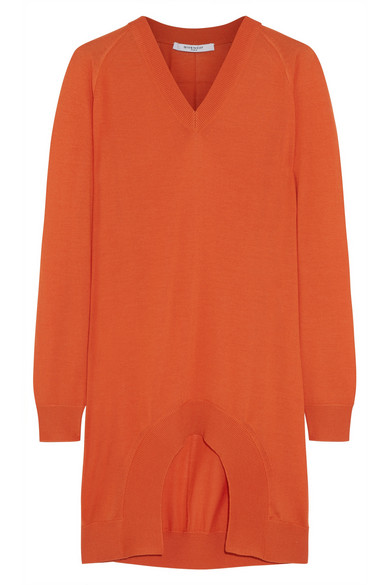 Givenchy - Cutout Cashmere, Wool And Silk-blend Sweater - Orange