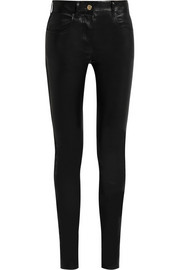 Skinny pants in black stretch-leather