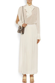 Pleated culottes in ivory silk crepe de chine
