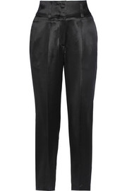 Cropped silk-satin tapered pants