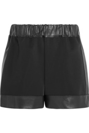 Shorts in neoprene with leather trims