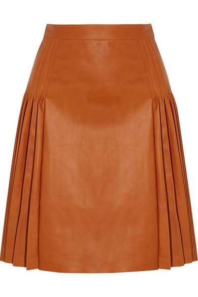 Givenchy - Pleated Leather Skirt - Light brown