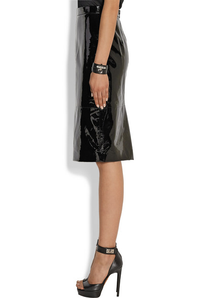 givenchy pencil skirt in black patent leather net a