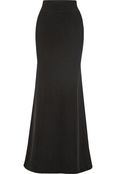 Woman Crepe Fishtail Maxi Skirt Black