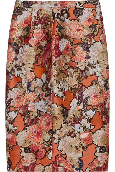 Givenchy - Skirt In Metallic Floral-jacquard - Brick