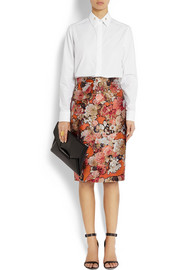 Skirt in metallic floral-jacquard
