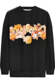 Sweatshirt in black silk crepe de chine with floral appliqué