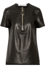 Top in black leather with zip detail