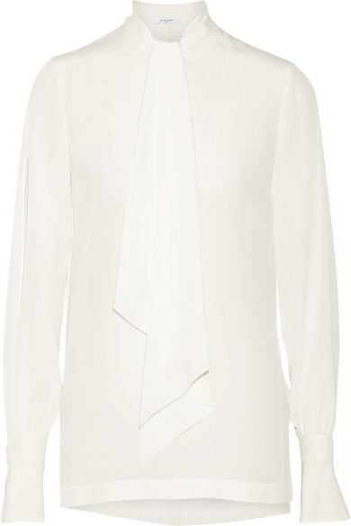 Givenchy - Pussy-bow Blouse In Ivory Silk Crepe De Chine