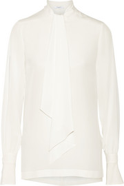 Pussy-bow blouse in ivory silk crepe de chine
