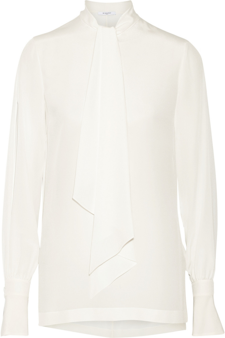 Givenchy Pussy-Bow Blouse in Ivory Silk Crepe De Chine, Women's, Size: 34