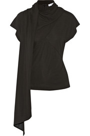 Stretch-jersey crepe top with scarf