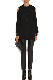 Givenchy Cutout top in stretch-crepe with ribbed trims