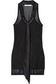 Ribbed jersey tank with silk-satin neck tie