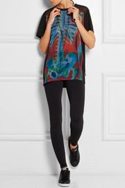 + Rita Ora O-Ray printed chiffon and stretch-jersey T-shirt