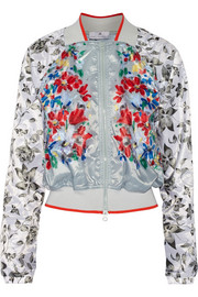 Floral-print shell bomber jacket