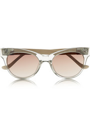 Cat eye acetate and leather sunglasses