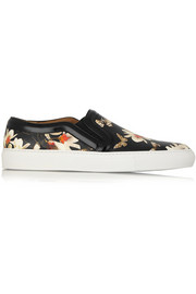 Slip-on sneakers in magnolia-print leather