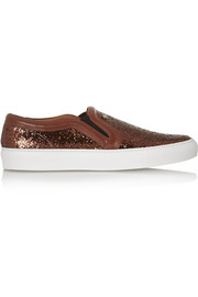 Slip-on sneakers in glitter-finished leather