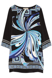 Printed silk-cady mini dress