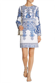 Embroidered stretch cotton-blend mini dress