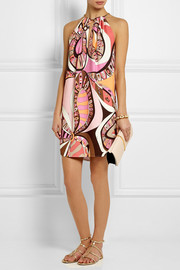 Printed stretch-crepe mini dress
