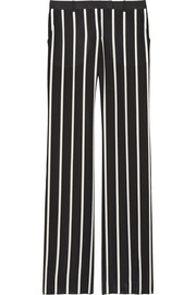 Striped silk crepe de chine wide-leg pants