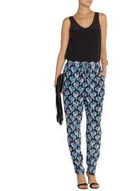 Emilio Pucci Printed silk crepe de chine tapered pants