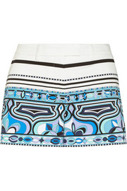 Printed stretch-cotton shorts