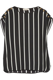 Striped silk crepe de chine top
