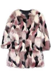 Reversible patchwork faux fur coat