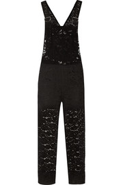 Cotton-blend lace overalls