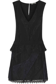 Lace-paneled silk crepe de chine dress