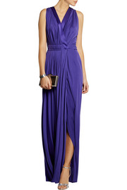 Silk-trimmed jersey gown