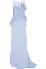 Nina Ricci Lace and organza-trimmed silk-crepe gown