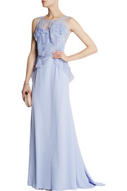 Lace and organza-trimmed silk-crepe gown