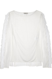 Nina Ricci Lace-paneled jersey and silk-chiffon top