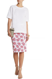 Floral jersey-jacquard pencil skirt