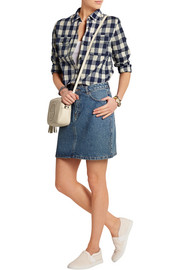 Girl plaid cotton-blend shirt