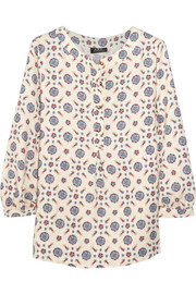 Riviera printed crepe top