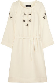 Embroidered crepe dress