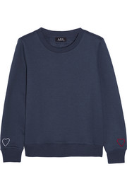 Coeur embroidered cotton-blend sweatshirt