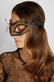Erickson Beamon Damsel Swarovski crystal-embellished gold-plated mask